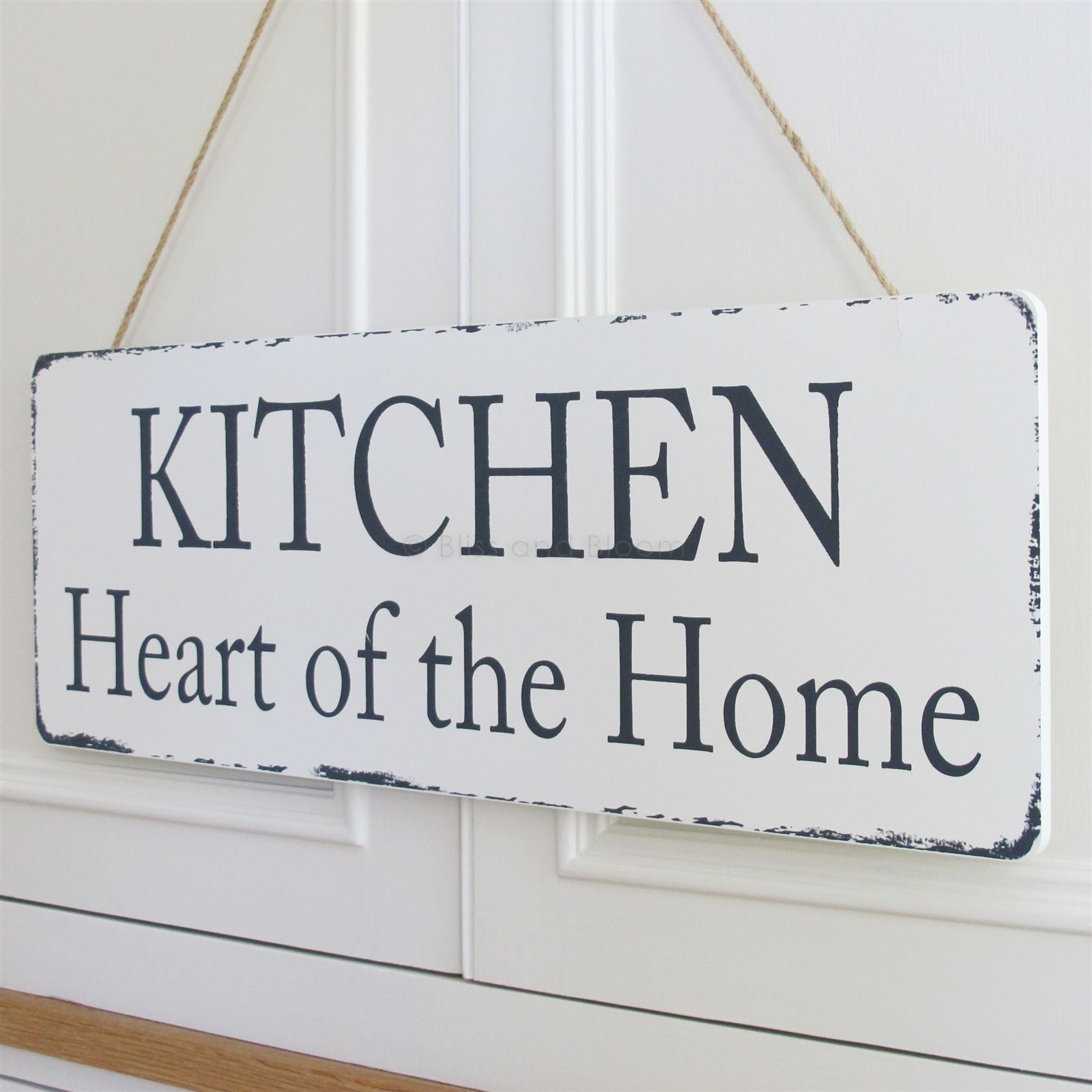 Kitchen Heart Of The Home Large Wooden Wall Plaque Painted Ivory In Colour With An Aged Effect Hangs From A Cord Plaques Signs