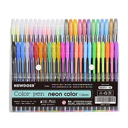 Newdoer Lote De 48 Bolígrafos De Tinta De Gel Para Colorear Ideal