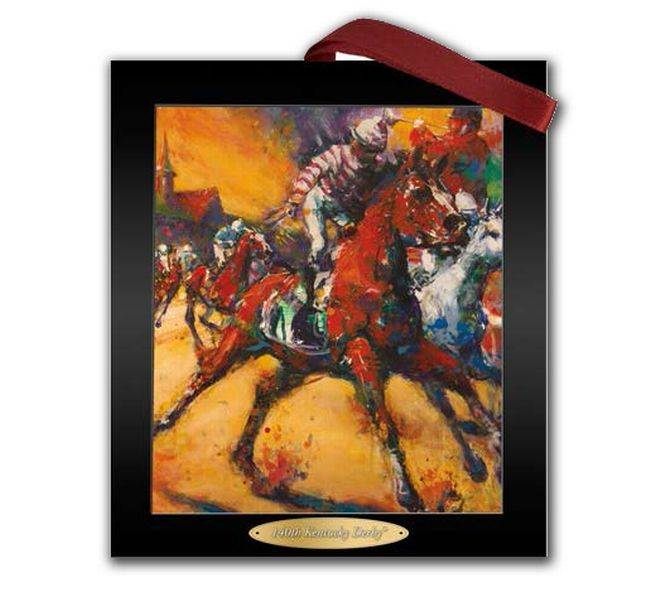 2014 Official Kentucky Derby Art Ornament.  Mini-version of the official Kentucky Derby poster is a wonderful reminder of America's Greatest Two Minutes in Sports. Ornament is printed on both sides and hangs from a red satin ribbon. Display on the tree or year-round.