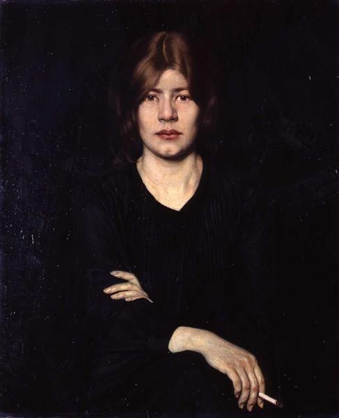Bildnis einer Dame mit Zigarette, Oskar Zwintscher