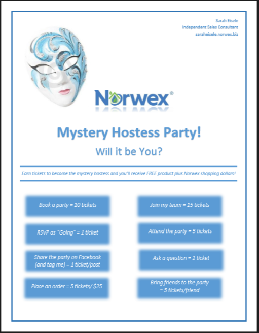 Norwex Mystery Hostess Party  Norwex    Mystery