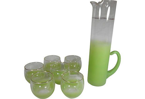 Green Ombré Cocktail Set, 7 Pieces