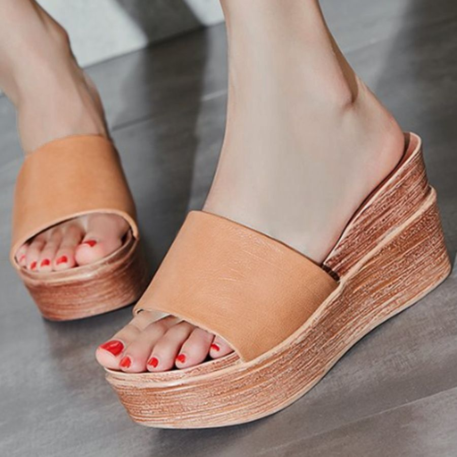 2c24a738f3ce Plain High Heeled Peep Toe Casual Outdoor Wedge Sandals  WedgeSandals