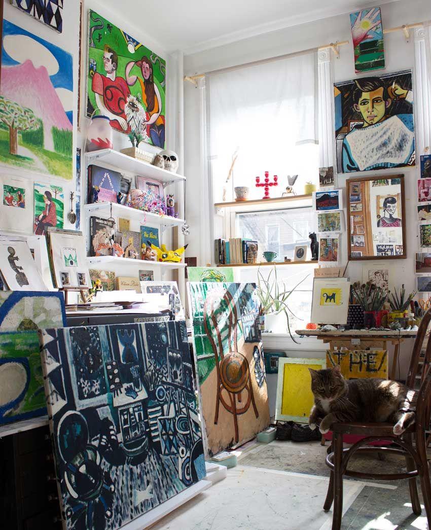 8816599661d One Bedroom Has Become An Art Studio For David On Design Sponge ...