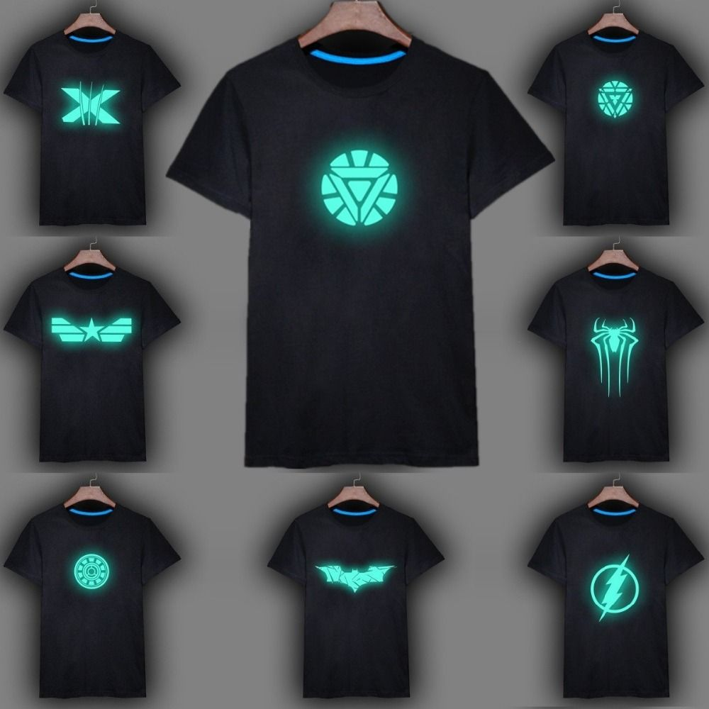 250a7a6d5 100%Cotton Mens Summer Anime Fluorescent T shirt Ironman Batman Superman Spiderman  Short Sleeve Tshirt Men Male Casual Top S - 3XL