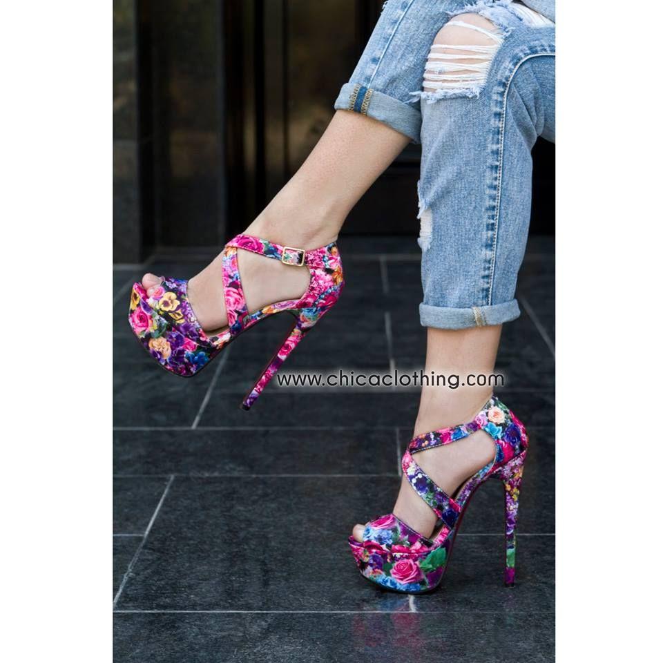 124591b00cb summer #heels #floral #fashion #style   Γυναικεία παπούτσια ...