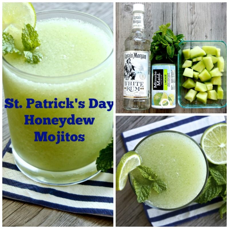 Honeydew mojitos, perfect for St. Patty's Day!