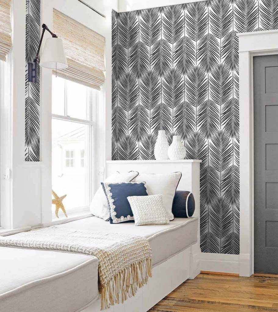 Paradise Palm Peel And Stick Wallpaper In Ebony By Nextwall In 2020 Peel And Stick Wallpaper Interior Spaces Burke Decor