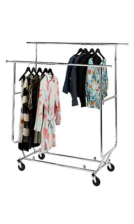 Honey Can Do 53 25 In X 63 5 In Garment Rack With Wheels In Chrome White White And Chrome In 2020 Garment Racks White Clothing Rack Hanging Racks