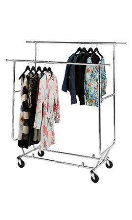 90 Storage Next To Bathroom Solution Double Rail Folding Salesman Rolling Racks Clothing Rack Diy Clothes Rack Garment Racks