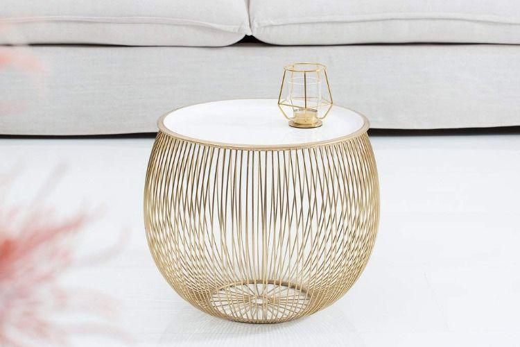 Design Beistelltisch Gold Weiss 41cm Metall Rund Korbtisch