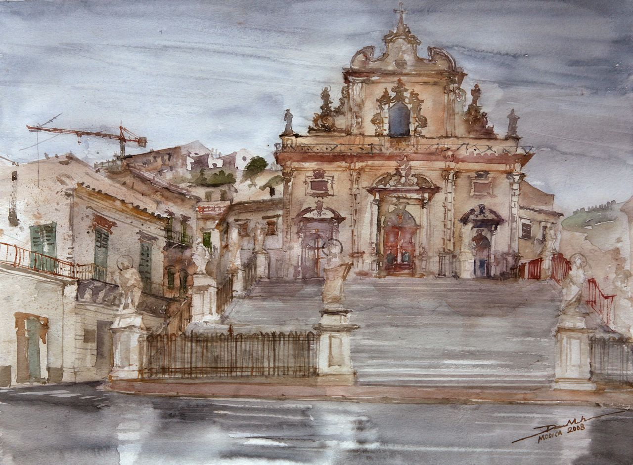 Renew watercolor artist magazine - Rainy Modica 36x48cm 2008 Www Minhdam Com Architecture Watercolor