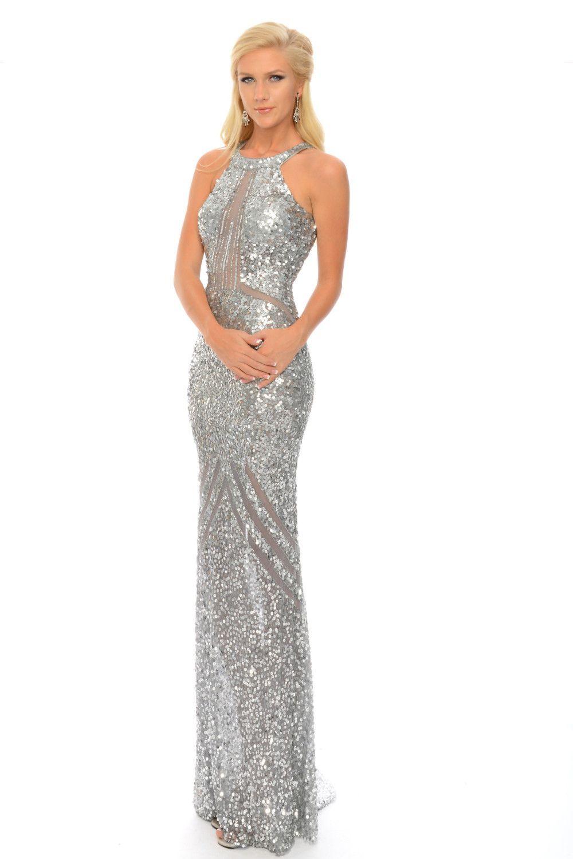 Precious formals p high neck sheer illusion sequin prom dress