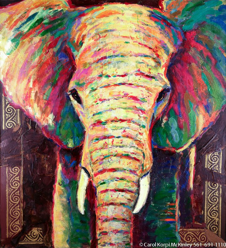 abstract elephant painting- I wish I could get something like this ...