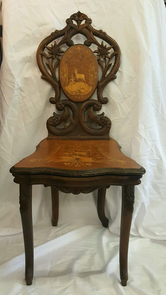 Rare antique walnut wood musical chair from Switzerland music box works!!!!  | Antiques, Furniture, Chairs | eBay! - Rare Antique Walnut Wood Musical Chair From Switzerland Music Box
