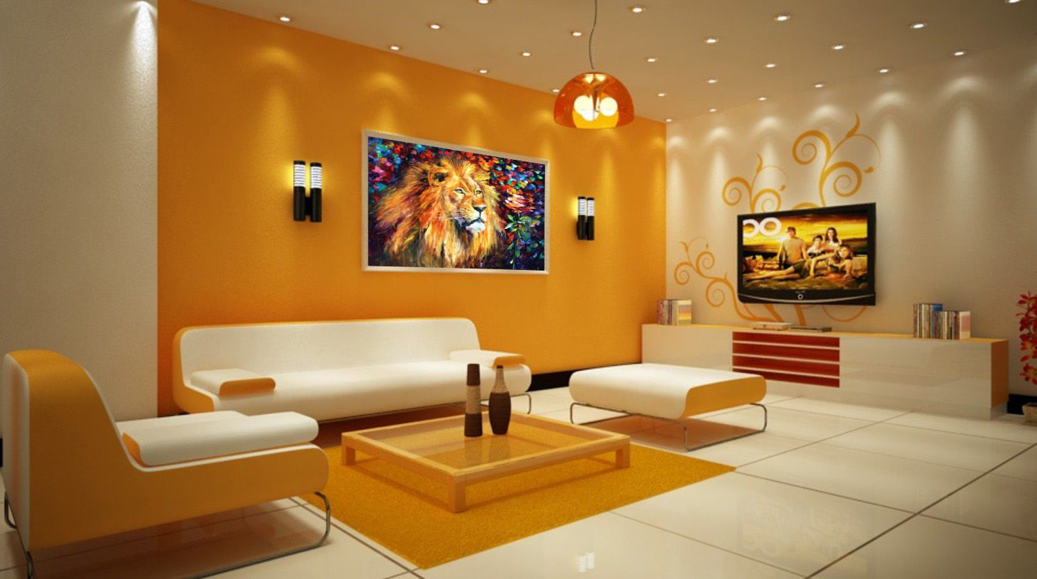 Lion Palette Knife Oil Painting On Canvas Living Room Orange