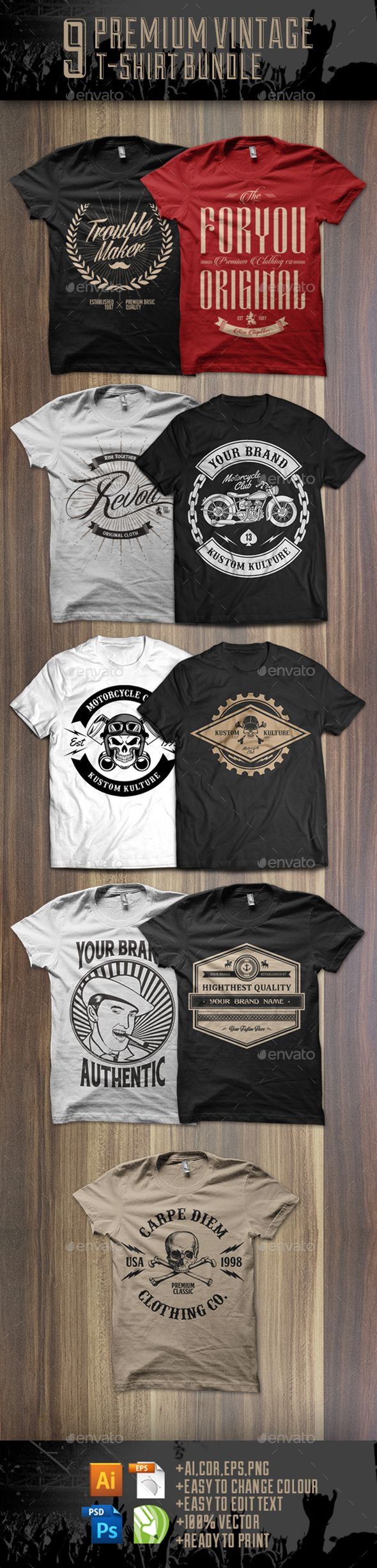 42f746d7bcb17a 9 Premium T-shirt Design Bundle Templates Vector EPS