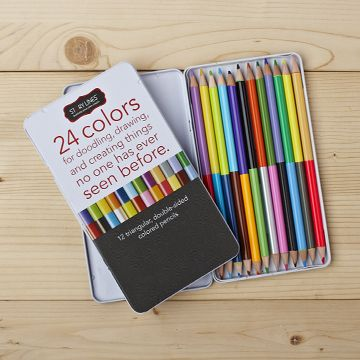 These colored pencils are the perfect companion to our Story Lines series of illustrate-your-own books.  Housed in a modern tin box, each set features 12 double-sided triangular pencils for 24 colors to draw and create things no one has ever seen before!    * Custom tin case: 8H x 4W x 6.25D  * 12 double-sided colored pencils