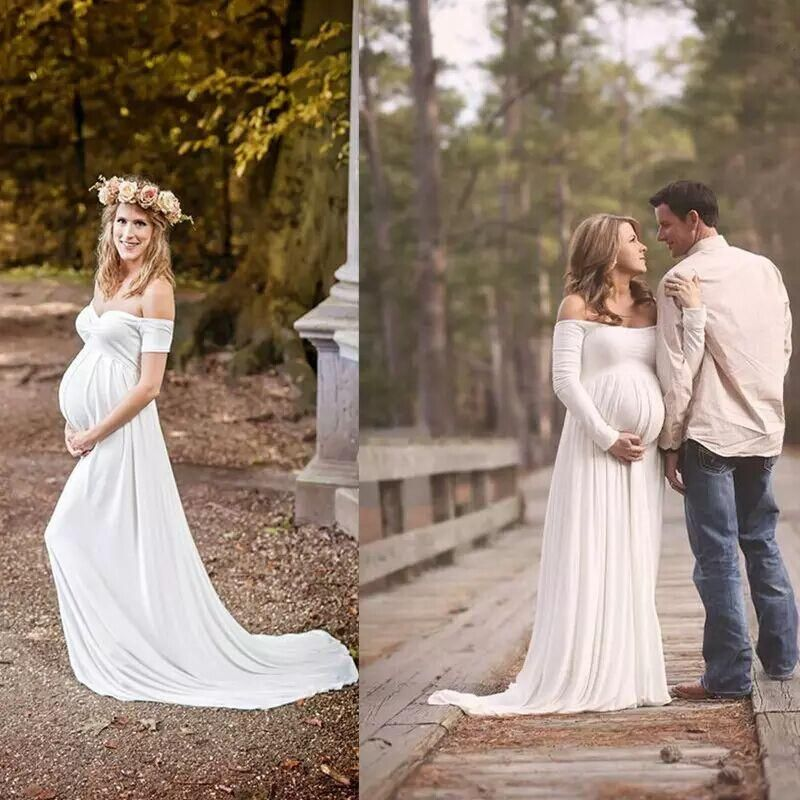 Cheap Maternity Wedding Dresses White Chiffon Empire Off the ...