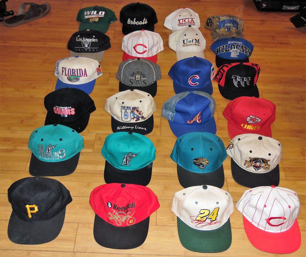 Vintage Men S Sport Teams Racing Nfl Mlb Nascar Ncaa Lot Of 24 Snapback Hats Vintage Men Snapback Hats Sports Team