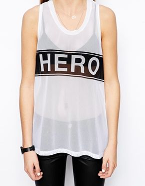 Image 3 of Zoe Karssen Basketball Mesh Vest With Hero Print