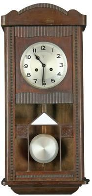 Vintage German Art Deco Wall Clock, Regulator, With Stained