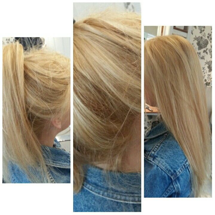 Blonde highlights with all over wella high lift tint also amy   rh pinterest