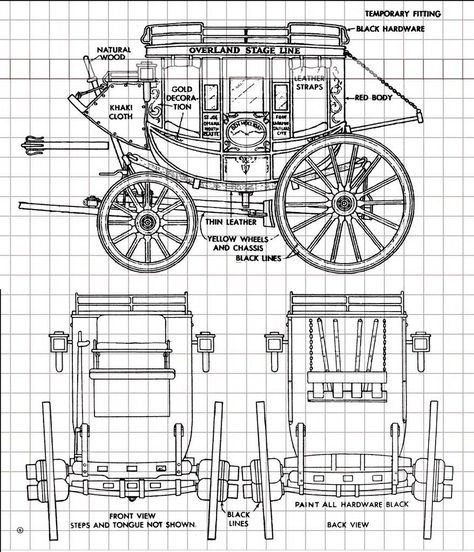 Overland Stagecoach Full Size Printed Plan 18 Scale