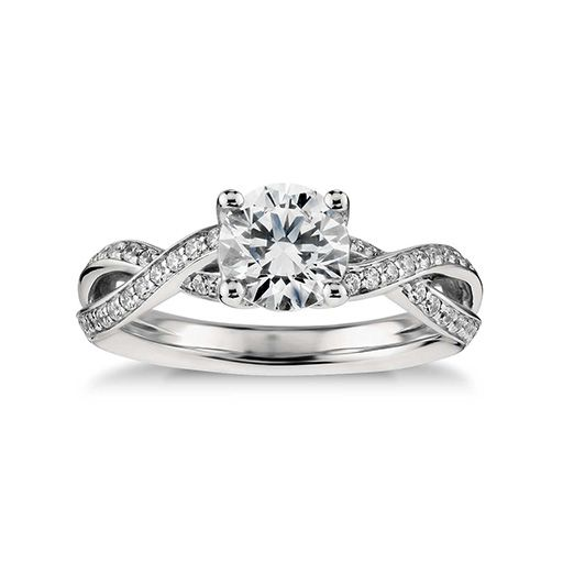 1/4 ct. tw. Twist Pavé Cubic Zirconia Engagement Ring in 14k White Gold Plated Over Silver