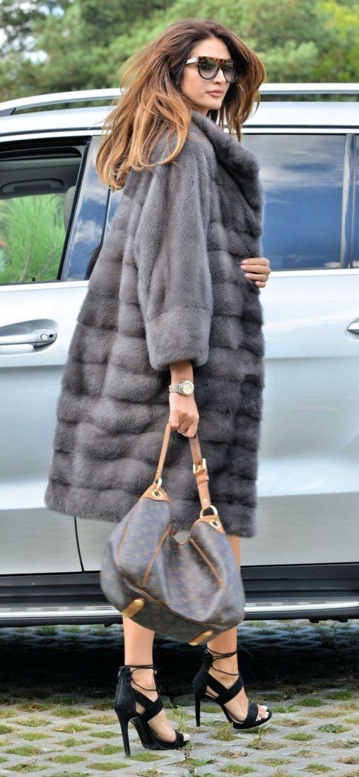 MINK FURS - new 2016 graphite royal saga mink fur coat - furs outlet