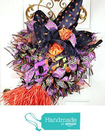 Handmade Extra Large Halloween Witch Wreath - Witch Broom Wreath - bulk halloween decorations