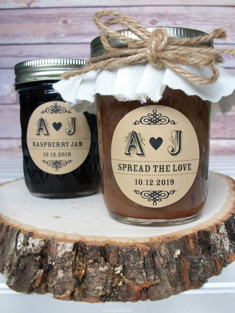 Kraft Wedding Initials Canning Labels Wedding Initials Custom Wedding Labels Homemade Wedding Favors