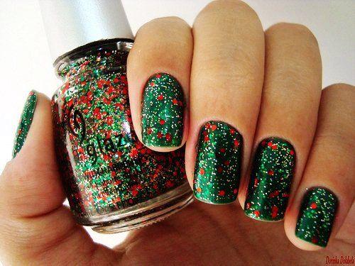 Glitter Christmas Nail Art For Short Nails Green Easy Christmas