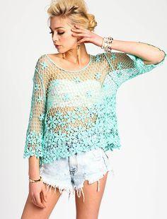 Mint Floral Crochet Top