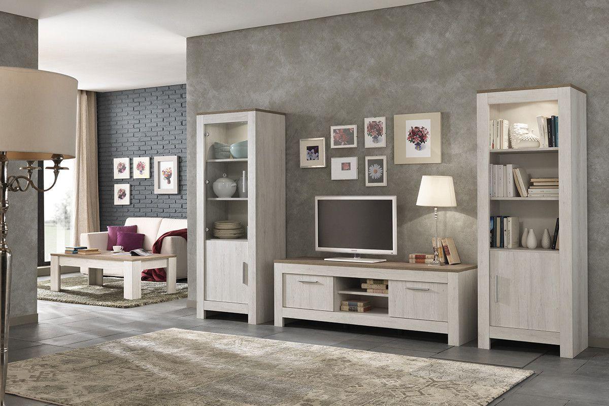 Salon - Ensemble meuble TV contemporain avec vitrine et table ...