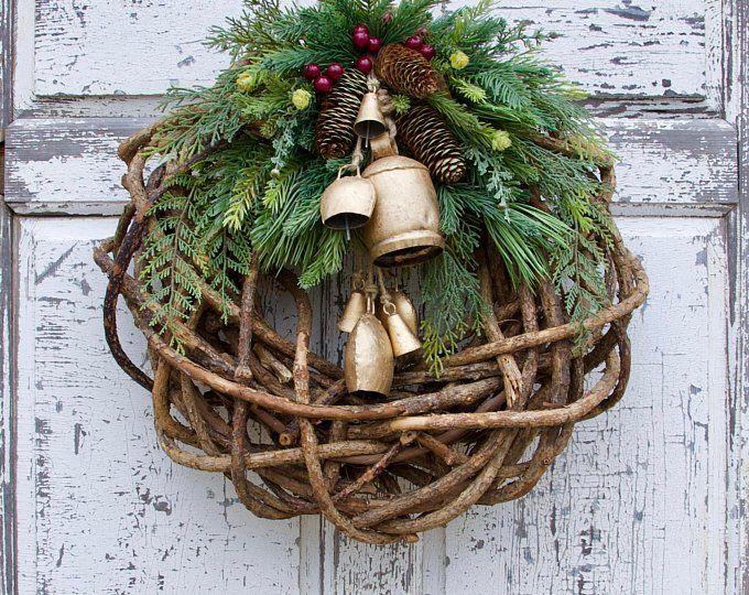 Photo of Eucalyptus and Pine Winter Wreath, Rustic Christmas Wreath, Farmhouse Christmas, Woodland Christmas Wreath, Holiday Wreath