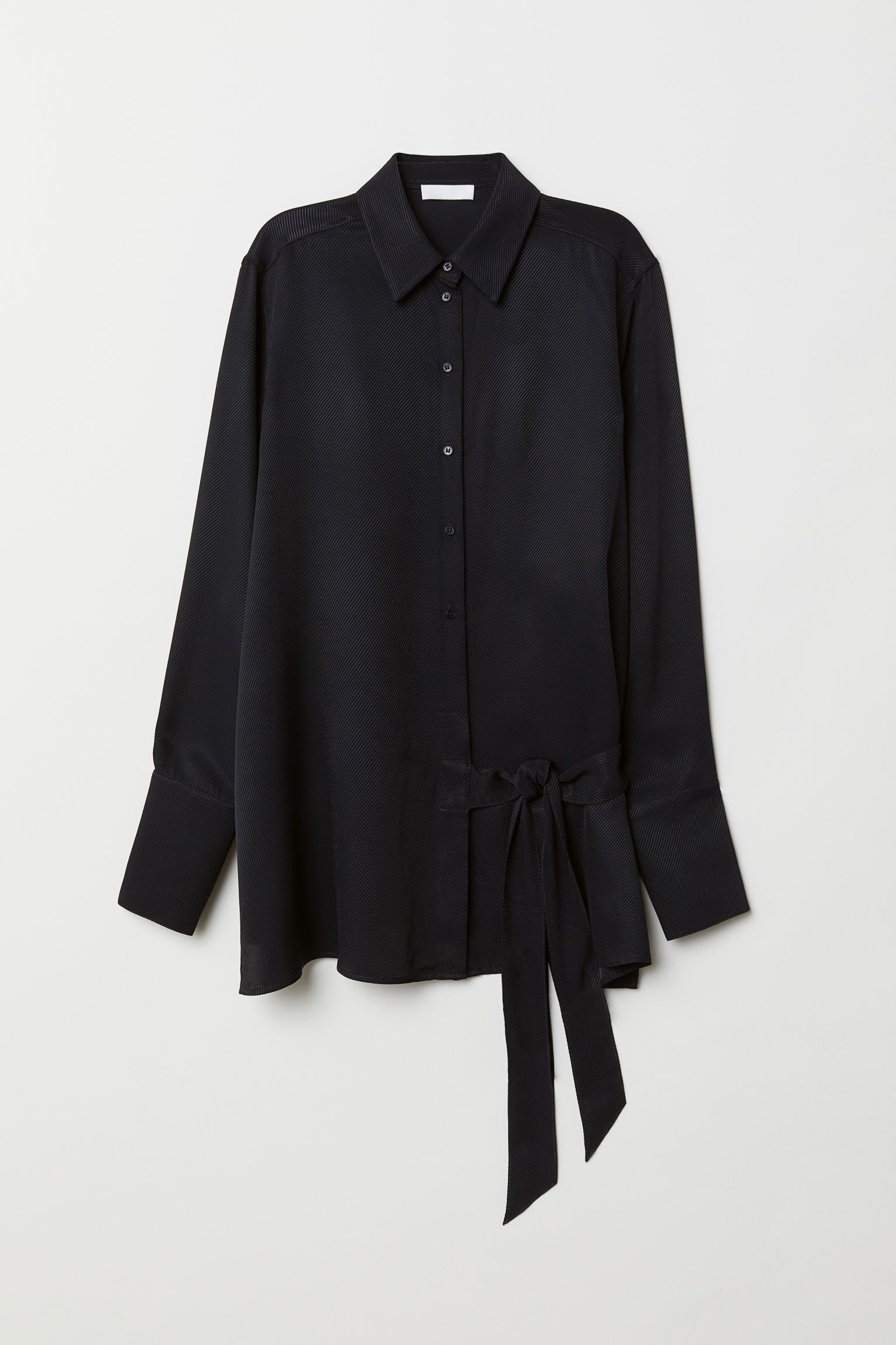 e86cbe7b85aa Skjorte med bindebånd | Tøj - overdele | Skjorte, Mørkeblå, Knapper