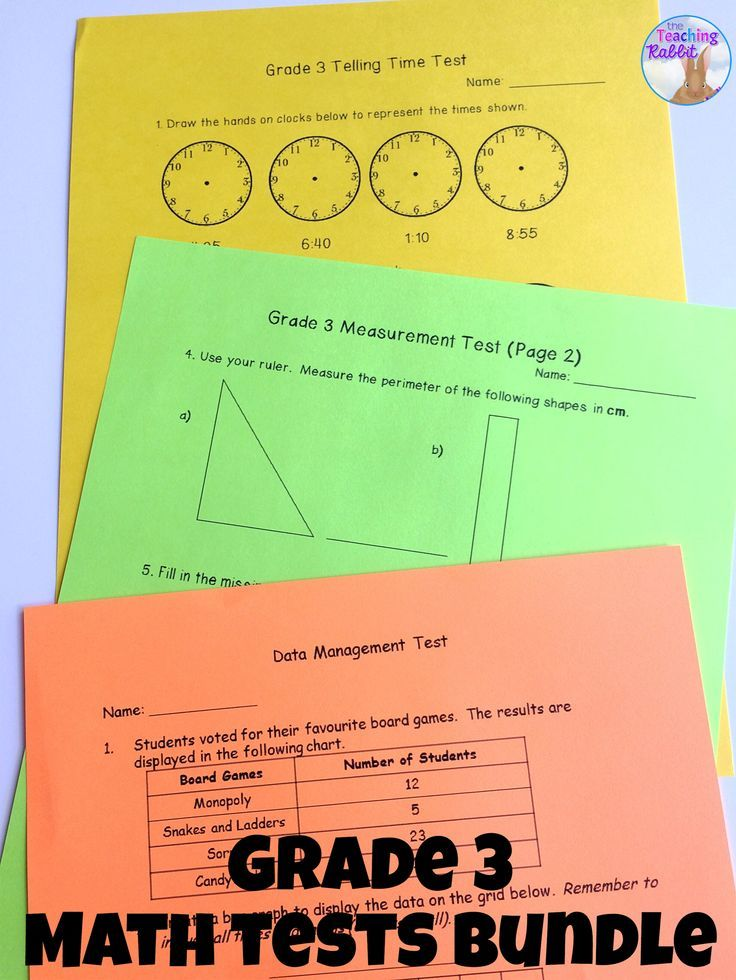 Grade 3 Math Tests Bundle (Based on Ontario Curriculum) | Fourth ...