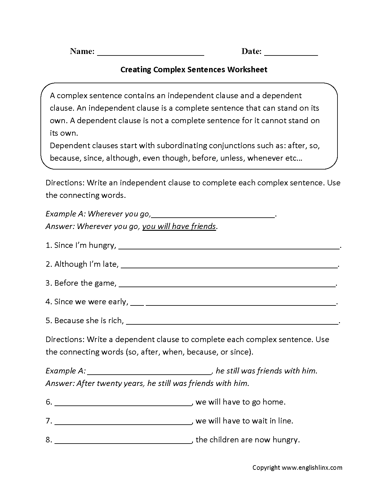 Creating Complex Sentences Worksheet