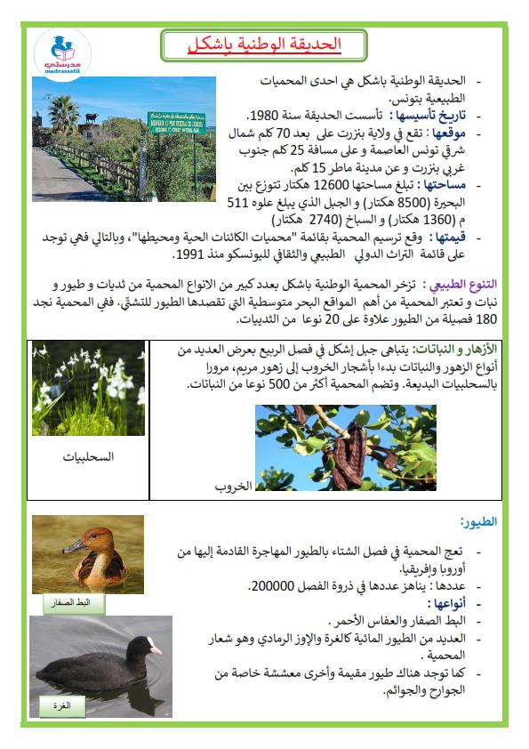 المحميات بتونس الحديقة الوطنية بإشكل موقع مدرستي