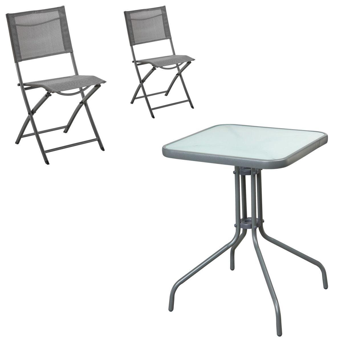 Gartenmöbel Set Larissa/Mexico (60x60, 1 Tisch, 2 Klappstühle