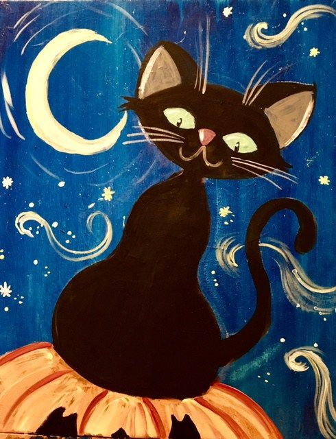 How To Paint A Halloween Cat With Crescent Moon Painting This Is An Easy Acrylic
