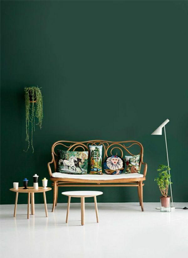 Wandfarben Bilder 40 Inspirierende Beispiele Wandfarbe Grun Grune Dekoration Grune Wohnzimmer