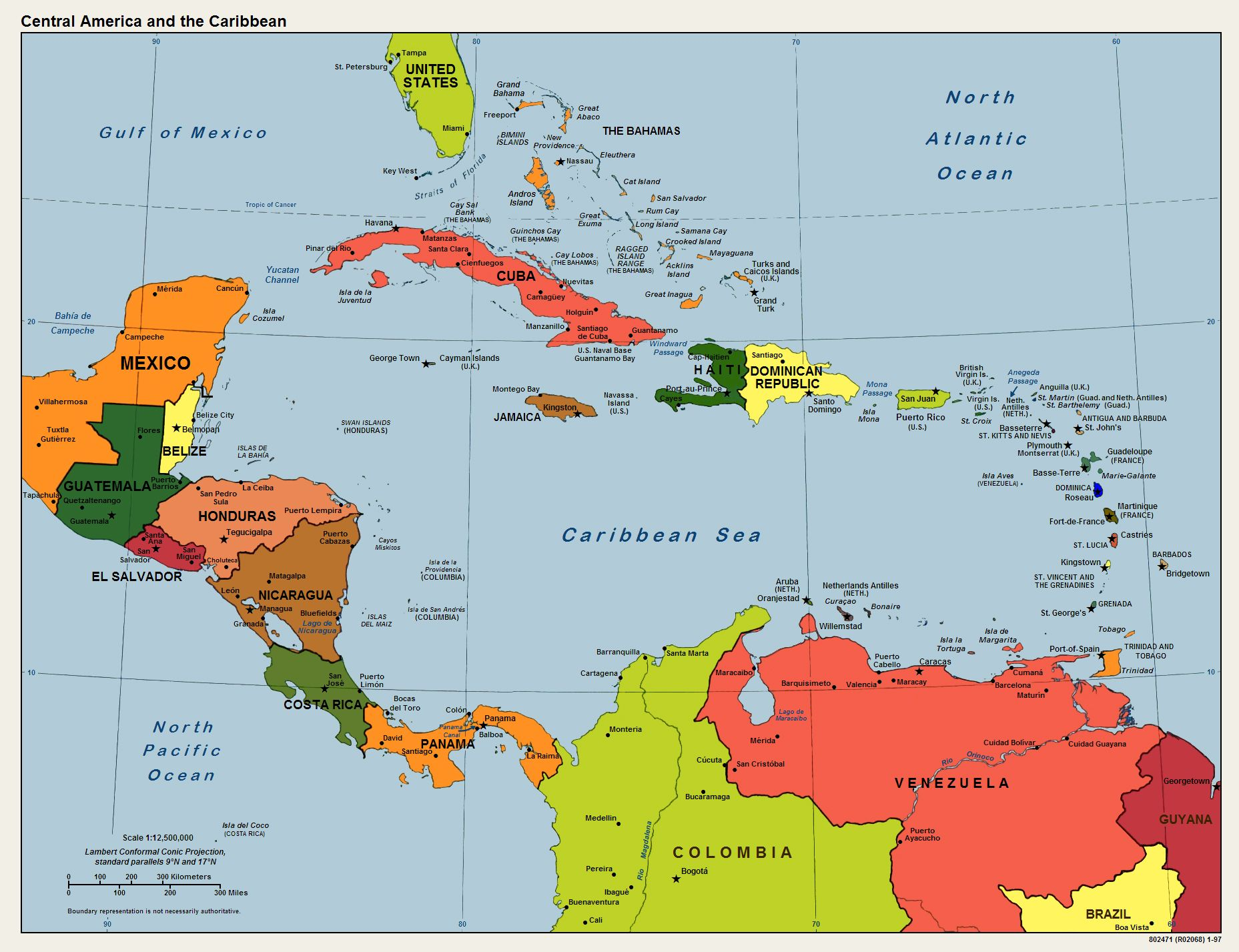 Printable Map Of The Carribean