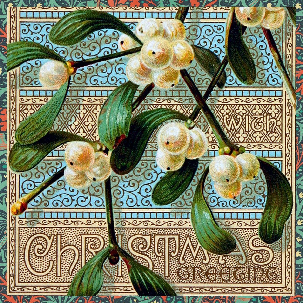 victorian christmas card mistletoe
