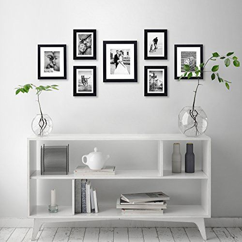 7 Piece Gallery Wall Set Includes 11x14 Inch With 8x10 Inch Matte Opening Two 8x10 Inch With 5x7 Matte Openings Four 5x7 Inch With 4x6 Inch Matte Opening Gallery Wall
