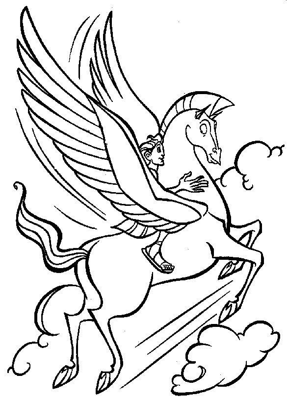 Hercules And Pegasus Coloring Page Bmp 587 810 Pixels Disney Coloring Pages Coloring Pictures Coloring Pages For Kids
