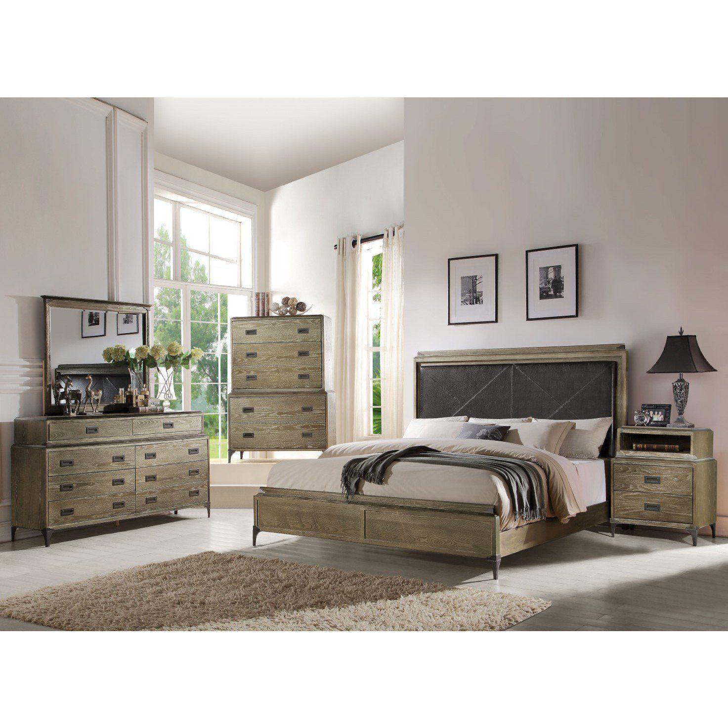 ACME Athouman Eastern King Bed (Panel) PU & Weathered Oak
