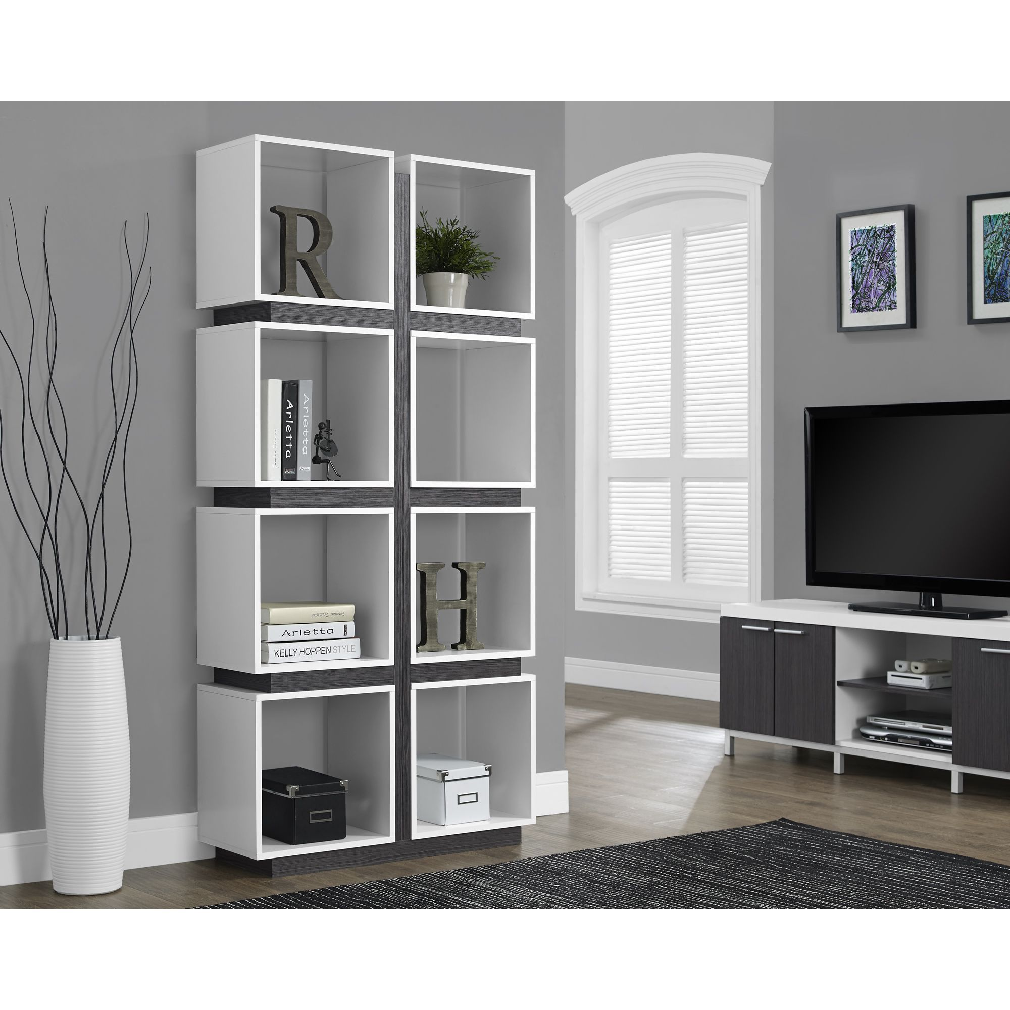 Give your home a modern art-deco look with this 8 cubic shelf bookcase.
