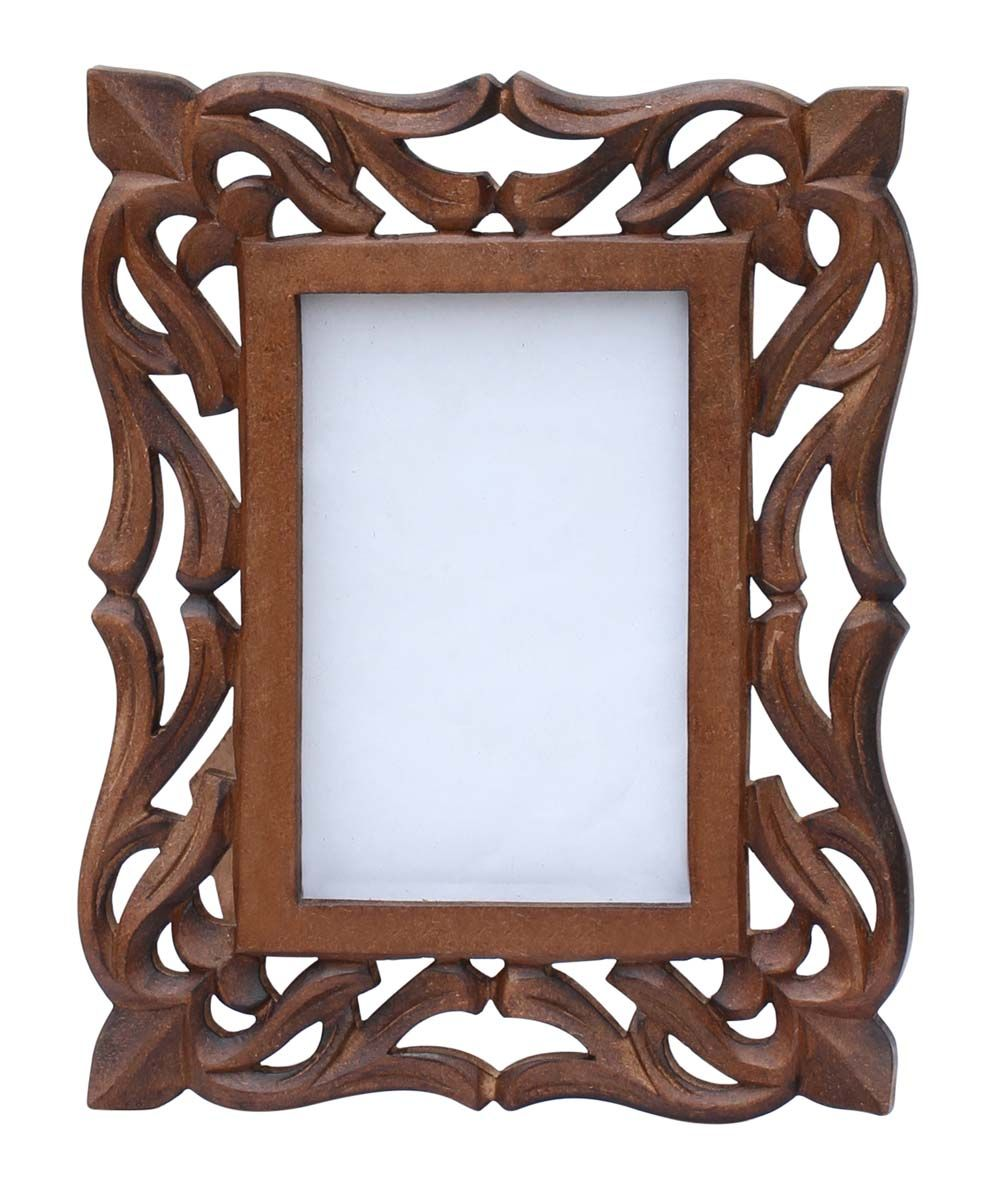 4x6 Inches Brown Picture Frame In Bulk Wholesale Hand Carved Vintage Look Wooden Photo Frame With Lat Wooden Photo Frames Picture Frames Brown Picture Frames